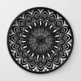 Bold Mandala Black and White Simple Minimal Minimalistic Wall Clock