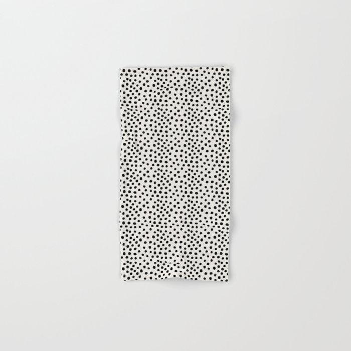 Preppy brushstroke free polka dots black and white spots dots dalmation animal spots design minimal Hand & Bath Towel