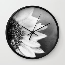 B&W Sunflower Wall Clock