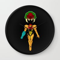 metroid Wall Clocks featuring Metroid by A Strom