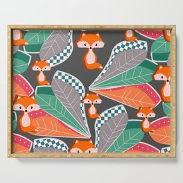 Summer fun with foxes and leaves Serving Tray
