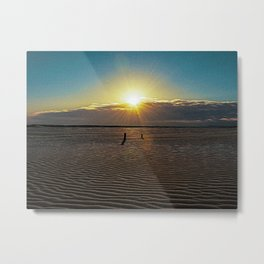 Sandy beach of Rimini shortly after dawn in winter Metal Print