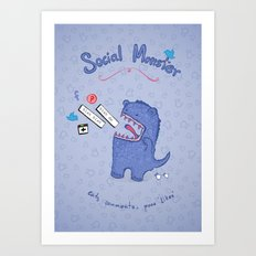 Social Monster Blue Art Print