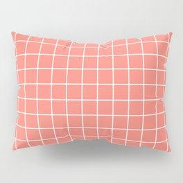 Salmon - pnk color - White Lines Grid Pattern Pillow Sham