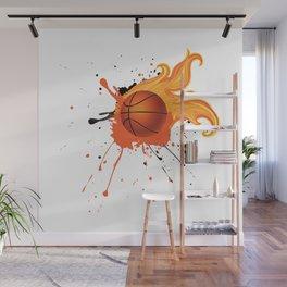 Grunge Flaming Basketball Wall Mural