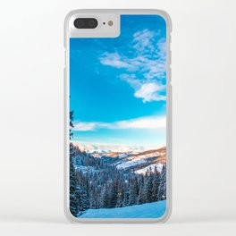 Winter sunset in the italian alps Clear iPhone Case