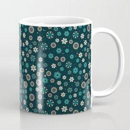 Festive Teal Snowflake Pattern Coffee Mug