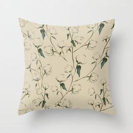 Cotton Bolls Throw Pillow