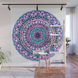 Mandala #2 Wall Tapestry Throw Pillow Duvet Cover Bright Vivid Blue Turquoise Pink Contempora Modern Wall Mural