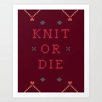 Knit or Die Art Print