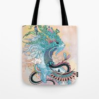 spirit Tote Bags featuring Journeying Spirit (ermine) by Mat Miller