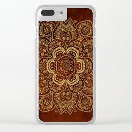 Gold Flower Mandala on Red Textured Background Clear iPhone Case