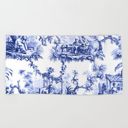 Blue Chinoiserie Toile Beach Towel
