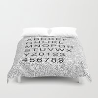 helvetica Duvet Covers featuring Helvetica Jumble by SpareType