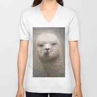 alpaca V-neck T-shirts featuring Alpaca! by Pauline Fowler ( Polly470 )