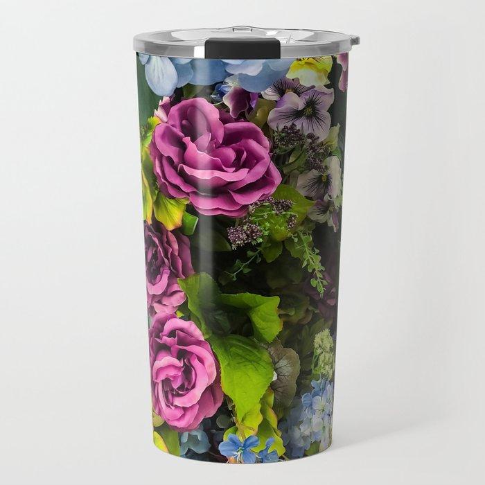 Colorful Blooming Flowers Travel Mug