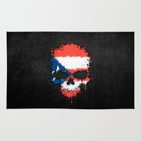 puerto rico Area & Throw Rugs featuring Flag of Puerto Rico on a Chaotic Splatter Skull by Jeff Bartels