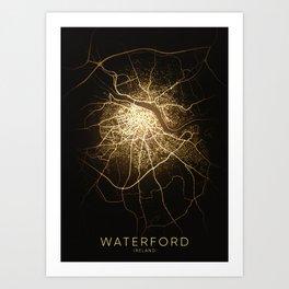 waterford  Ireland city night light map Art Print