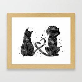 Cat and dog, love art Framed Art Print