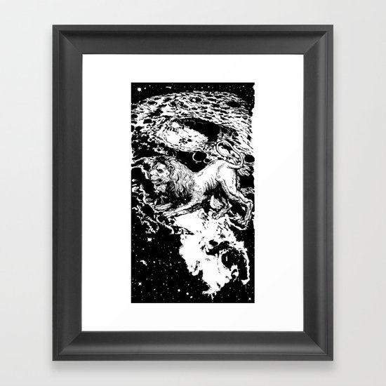 Moon Lion Framed Art Print