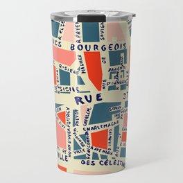 paris map blue Travel Mug