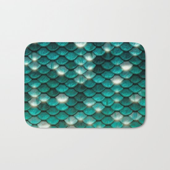Turquoise sparkling mermaid glitter scales- Mermaidscales on  #Society6 Bath Mat