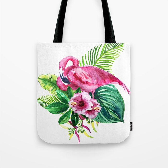watercolor illustration of a pink flamingo with tropical castings and flowers Tote Bag