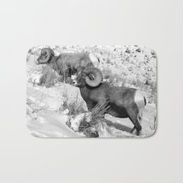 2 Amazing Bighorn Sheep in Black and White by OLena Art for #Society6 Bath Mat