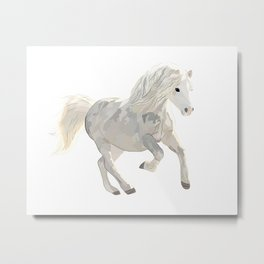 White horse art Metal Print