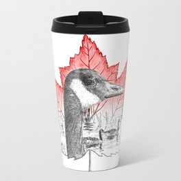 Canada Goose on Maple Leaf (with some red) Travel Mug