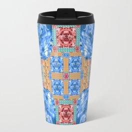 Vibrant Dinosaur Pixel Quilt Travel Mug
