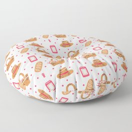 Modern brown pink hand painted watercolor picnic pattern Floor Pillow