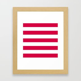 Rich carmine - solid color - white stripes pattern Framed Art Print