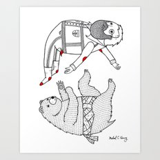 On the bear's uncontrollable urge to toss his master in the air Art Print