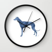 greyhound Wall Clocks featuring Greyhound by Carma Zoe