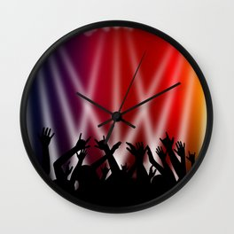 Dancing Crowd With Multi Colour and White Spotlights Wall Clock