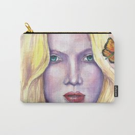 Women face Butterfly abstract print Carry-All Pouch