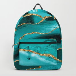 Aqua Turquoise Day Blue Galaxy Marble Backpack