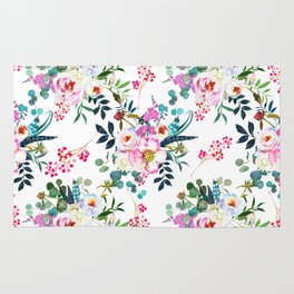 Watercolor magenta pink lilac teal hand painted roses pattern Rug