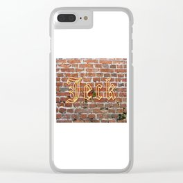 """Jeck - Brick - Yellow - Cologne Dialect 4 """"Crazy, Mad, Loco"""" Clear iPhone Case"""