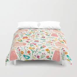 Modern girly pink green hand painted Easter rabbit floral Duvet Cover