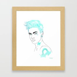 Unlucky, Blue Framed Art Print