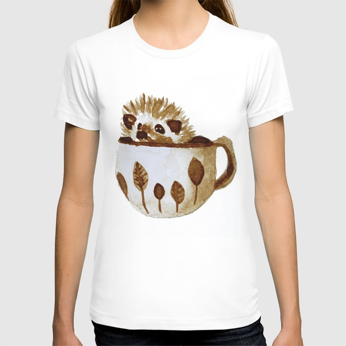 Hedgehog in a Cup Painted with Coffee T-shirt