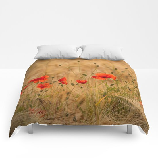 Golden cornfield with poppies Comforters