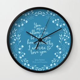 Jane Austen Pride and Prejudice Quote Wall Clock