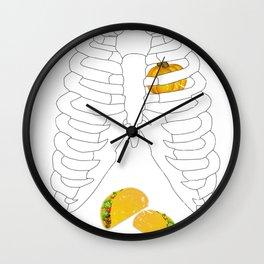 Taco Loving Skeleton with a Pumpkin Heart Halloween Wall Clock