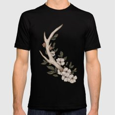 Floral Antler Black Mens Fitted Tee SMALL