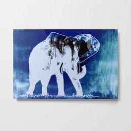 Elephant (blue version) Metal Print