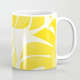 Mellow Yellow Monstera Leaves White Background #decor #society6 #buyart Coffee Mug