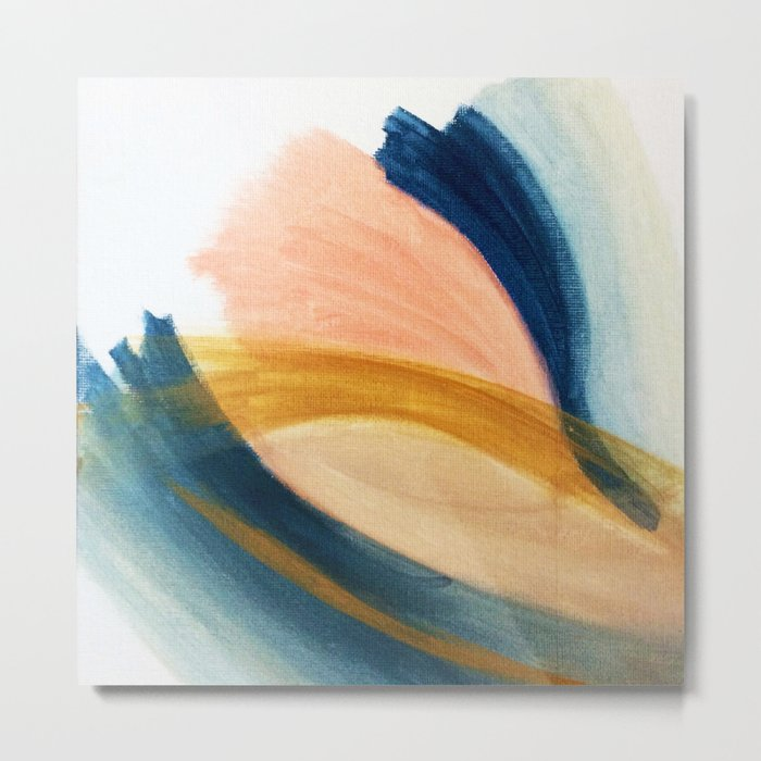 Slow as the Mississippi - Acrylic abstract with pink, blue, and brown Metal Print